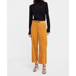 ZARA Mustard Corduroy Culotte Pants Size M